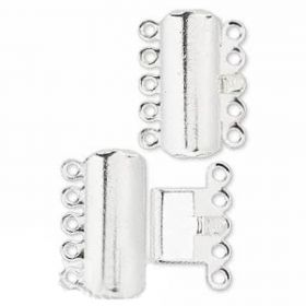 Silver Plated 5 Strand Curved Rectangle Clasp 17x8mm Pk1