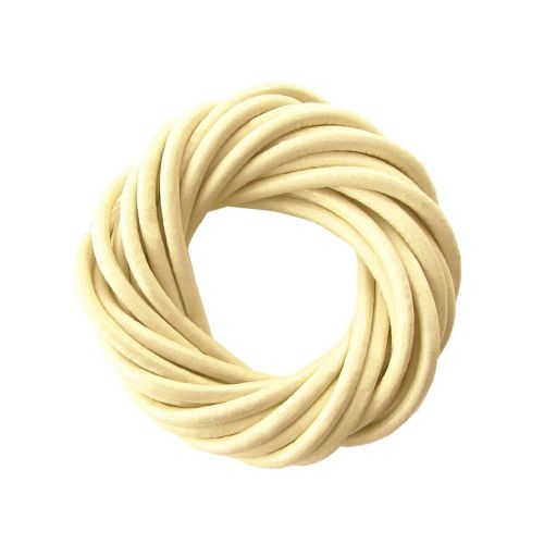 Leather cord / natural / round / 4mm / cream / 2m