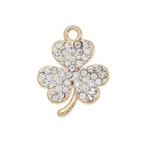 Glamm ™ Clover / charm pendant / with zircons / 19x15.5mm / gold plated / 1pcs
