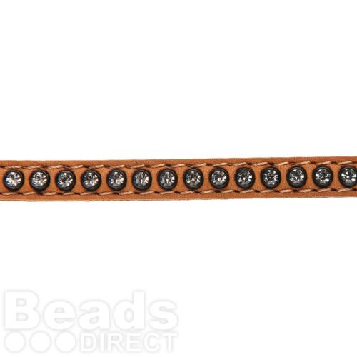 Tan Swarovski Real Leather with Crystals 6mm approx. 48cm