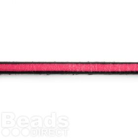 Fuchsia Flat Leather with Black Edge 5x2mm Pre Cut 1 metre Length