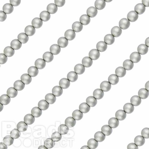 """Round Wood Beads in Silver 8mm 16"""" Strand"""