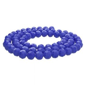 CrystaLove™ crystals / glass / faceted round / 8mm / indigo / lustered / 65pcs