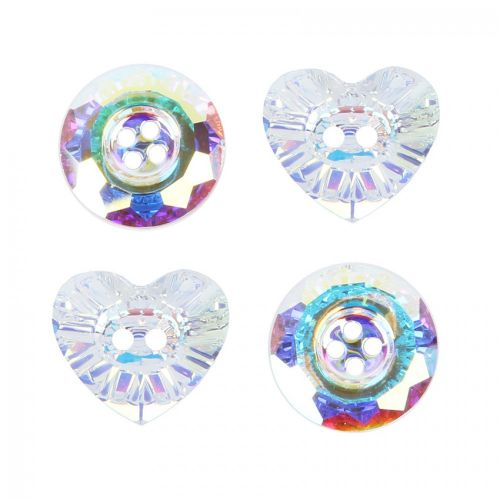 """X"" Swarovski Crystal Button Mix Crystal AB Pk4 (Heart 16mm x2 Round 14mm x2)"
