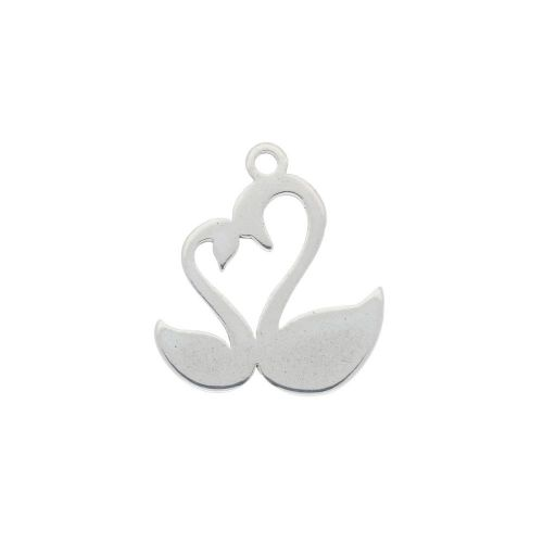 Swans / charm / surgical steel / 13x11mm / silver / 4pcs
