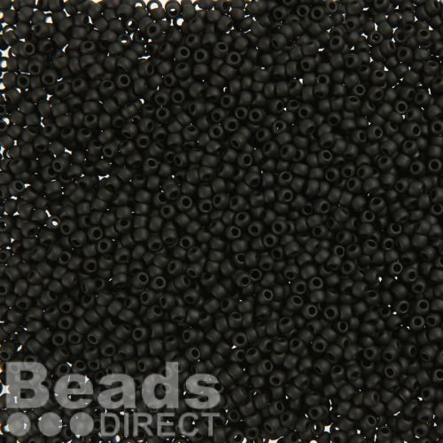 Toho Size 11 Round Seed Beads Opaque Frosted Jet 10g