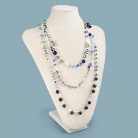 Beads Direct Lariat Crochet Necklace Kit - Cream and Blue