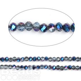 """Dark Blue 1/2 Coated Essential Crystal Glass Faceted Rondelle Beads 4mm 16""""Strand"""
