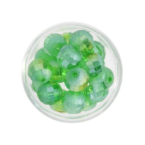 CrystaLove ™ / frosted / faceted glass crystals / round / 8mm / green / opalescent / 10pcs