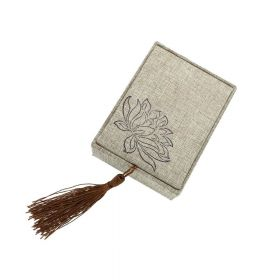 Gift box with tassel / linen / 10x7.5x4cm / 1pcs