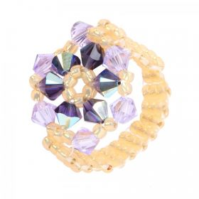 Purple and Topaz Primrose Flower Ring TAMB Kit made with Swarovski - Makes x4