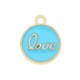 SweetCharm ™ Love  / pendant / 15x13x2.5mm / gold plated / turquoise / 2pcs