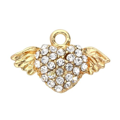 Glamm ™ Heart with wings / charm pendant / with zircons / 12.5x19.5x4mm / Gold plated / 1pcs