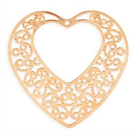 Rose Gold Plated Filigree Heart Pendant with Cut Out Heart 43x47mm Pk1