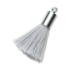 Tassel / viscose thread / silver end cap / 25mm / silver / 1pcs