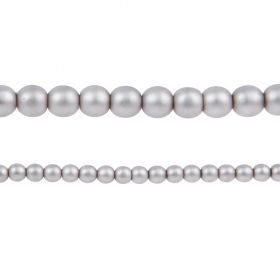 Grey Matte Czech Glass Round Pearl Beads 4mm Pk120