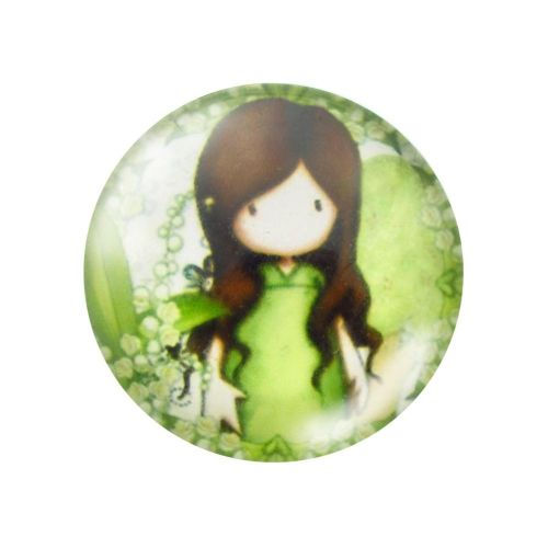 Glass cabochon with graphics 12mm PT1490 / green / 4pcs