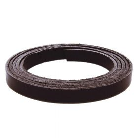 Leather cord / natural / flat / 6x2mm / dark brown / 1m