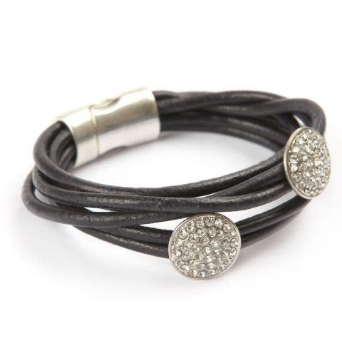 Luxe Rhinestone Leather Bracelet