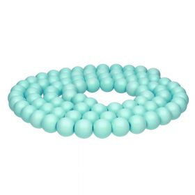 Milly™ satin / round / 8mm / turquoise / 85pcs