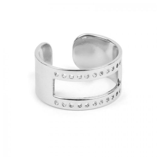 Silver Plated Brass Ring Base with Cut out holes 20x10mm Pack 1