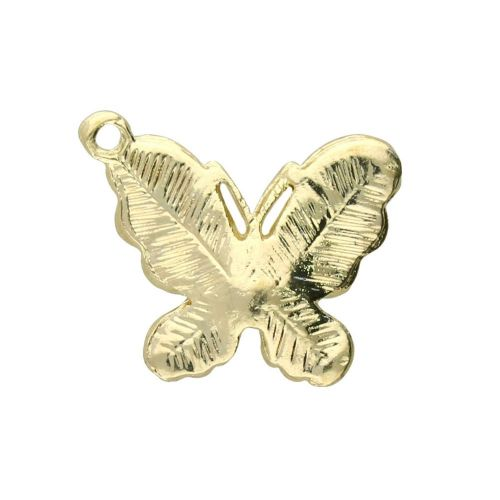 SweetCharm ™ Mother of pearl butterfly / charm pendant / 18x21x3mm / gold plated / white / 1pcs