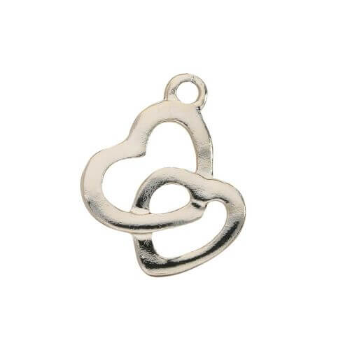 Two hearts / charm pendant / 19x15mm / gold plated / 4pcs