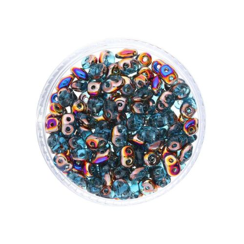 SuperDuo ™ / glass beads / 2.5x5mm / Sliperit / Aquamarine / 10g / ~140pcs