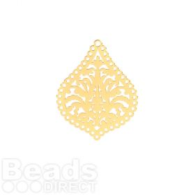 Gold Plated Brass Filigree Drop Charms 22x27mm Pk6