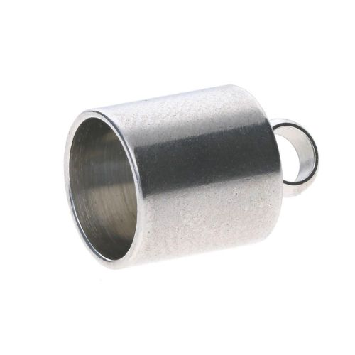 End cap / surgical steel / 13x9x9mm / silver / hole 8mm / 2pcs
