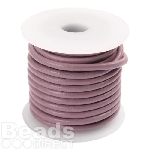 Violet Round Leather 3mm Cord 5 Metre Reel