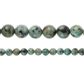 "African Turquoise A Grade Semi Precious Round Beads 8mm 15"" Strand"