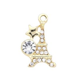 Glamm ™ Eiffel Tower / charm pendant / 15 zircons / 24x13x5mm / gold plated / 1pcs