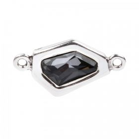 Silver Plated Zamak Irregular Charm with Jet Swarovski 37x20mm Pk1