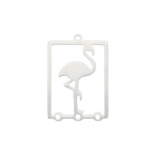 Flamingo / connector / surgical steel / 22x16x1mm / silver / 1pcs