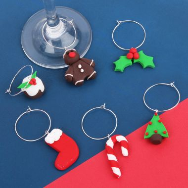 Christmas FIMO Wine Glass Charms