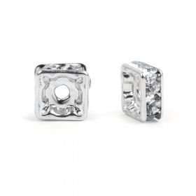 Silver Plated Squaradelle 8mm Spacer with Crystal Pack20