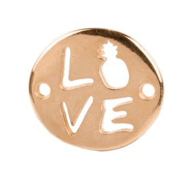 Rose Gold Plated Zamak Love/Pineapple Connector Charm 18x20mm Pk1