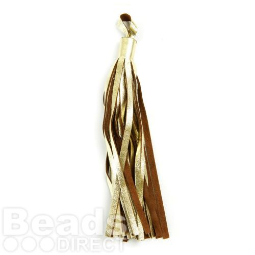 Gold and Brown Leather Tassel Charm 12cm Pk1