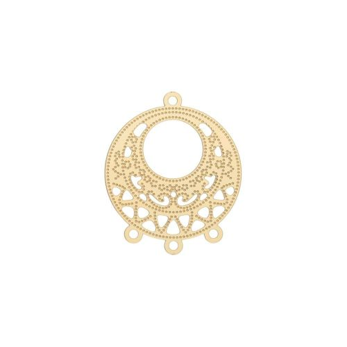 Round base / earring base / surgical steel / 31x25x0.5mm / gold / 1pcs