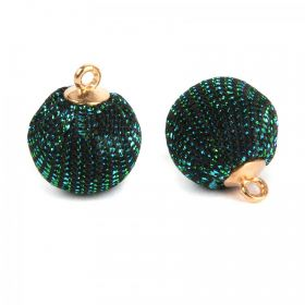 Dark Green Glitter Fabric Ball Charm with Loop 16mm Pk2