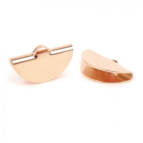 Rose Gold Plated Brass Cord End 20x9mm 0.9mm Thick Pk 2