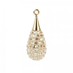 67563 Swarovski Crystal Pave Drop 10x26mm Gold Plated Golden Shadow Pk1