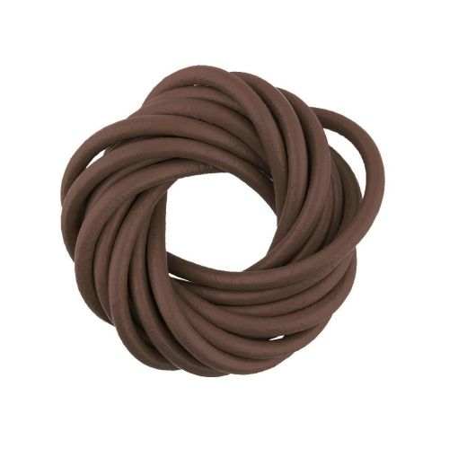 Leather cord / natural / round / 3mm / brown / 2m