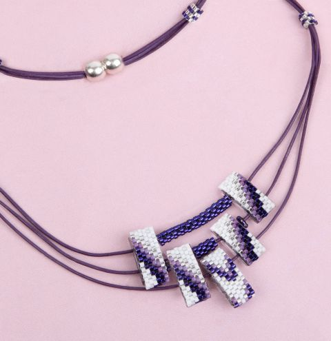 Violet Chevron Necklace