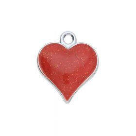 SweetCharm ™ Heart / pendant charms / 19x16x3mm / silver-red / 2pcs