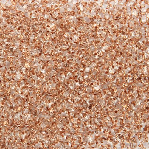 Preciosa Twin Hole Seed Beads Copper Lined Crystal Clear 2.5x5mm 10g
