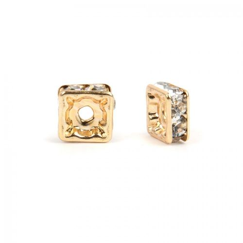 X-Gold Plated Squaradelle 4mm Spacer with Crystal Pack20
