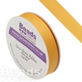 Yellow Gold Grosgrain Ribbon 9mm Sold on a 5 Metre Reel