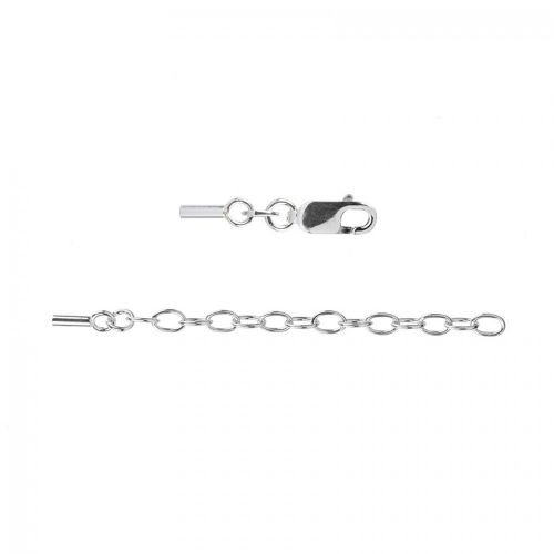 X Sterling Silver 925 Cord End with Lobster & Extenstion Chain (Inner 1mm) Pk1